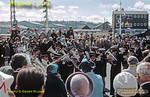 The Stape Silver Band entertains the waiting crowds prior to the arrival of HRH The Duchess of Kent outside the Angel Hotel in Whitby, where the first of the commemorative plaques was unveiled to mark the official opening of the North Yorkshire Moors Railway. Tuesday 1st May 1973. Slide No. 11003.