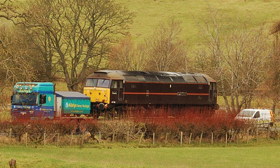 A closer view of the loco on the Warcop road on 22nd December 2011.