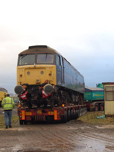 The rear of the trailer being steered manually into the yard, 22nd December 2011