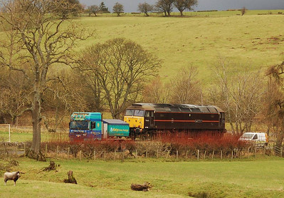 The locomotive heading along the minor road from the A66 towards Warcop vilage, 22nd December 2011
