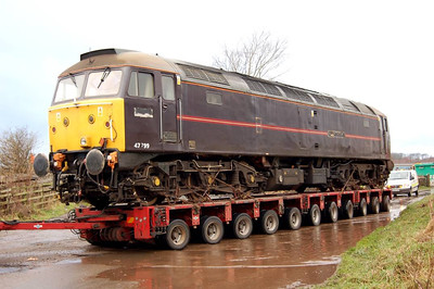 47799 on the trailer as the turn into the yard is made on 22nd December 2011