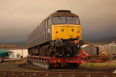 "Whilst waiting for the bigger shunter ""Darlington"" to come and have a go, I took a couple of shots of 47799 on the back of the trailer."