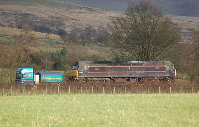 The journey commenced at Crewe on the 21st December, arrival at Warcop being the following day. At approx 1.30pm on Thursday 22nd December the locomotive was sighted on the A66.