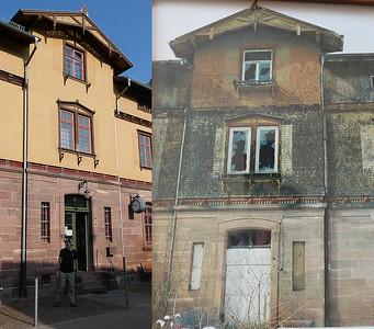 Eisenbahnmuseum Weissenstein before and after restauration.