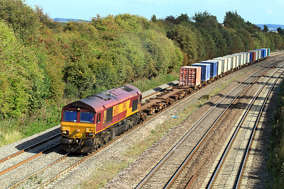 66005 heads through Moreton Cutting with 6V38 11.00 Marchwood to Didcot MOD/Enterprise service. 02/09/2011