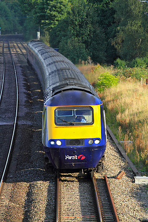 The 17.22 Paddington to Hereford HST service passes Lower Basildon. 02/09/2011