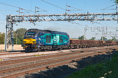 68001 'Evolution' powers up passing Cranberry with 6U76 08.59 Crewe Basford Hall to Mountsorrel Sidings. Tuesday 19th July 2016.