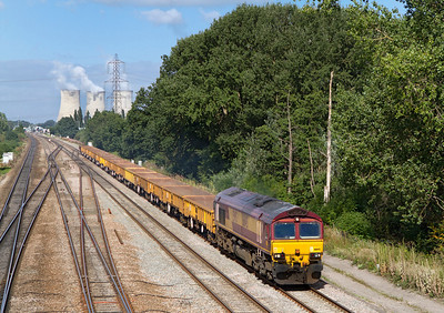66145 heads away from Didcot with 6O26 10.19 Hinksey Virtual Quarry to Eastleigh Yard departmental. Wednesday 5th September 2012.