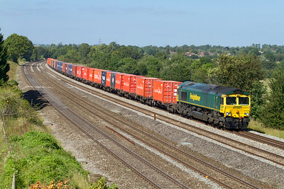 66569 passes Lower Basildon with 4L32 11.00 Bristol FLT to Tilbury wineliner. Wednesday 5th September 2012.