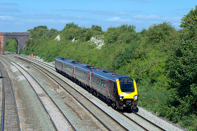 The 07.25 Newcastle to Southampton passes Reading Road, Moulsford formed of a Class 220 Voyager. Wednesday 5th September 2012.