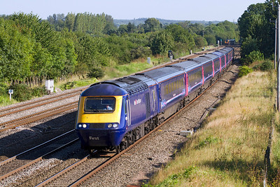 Power cars 43194 & 43094 pass Lower Basildon powering the 15.45 Paddington to Swansea. Wednesday 5th September 2012.