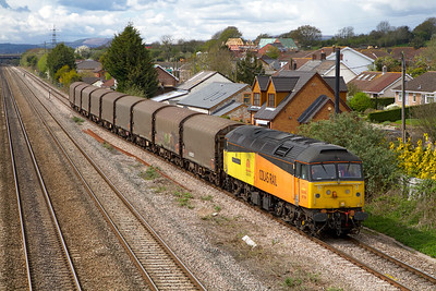 47739 'Robin of Templecombe' passes Magor with 6Z47 14.14 Llanwern to Washwood Heath returning covered steel carriers following the end of the European service. Wednesday 11th April 2012.