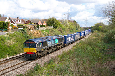 66423 heads 4V38 08.22 Daventry to Wentloog Tesco train past Portskewett. Wednesday 11th April 2012.