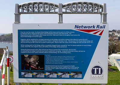 Information board over looking the worksite at the Tamar Bridge. Nice model of bridge on top of notice board. Friday 6th April 2012.