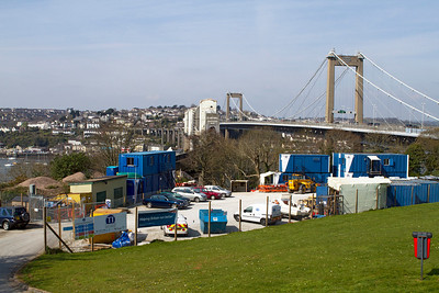 General view looking over the contractors compund with bridge in the background. Friday 6th April 2012.