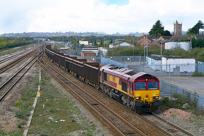 66131 passes Severn Tunnel Junction on the tunnel route with 6Z35 12.48 Moreton-on-Lugg to Acton Yard loaded stone. Wednesday 11th April 2012.