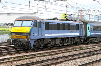 90014 on the rear of the 15.30 Liverpoll Street to Norwich passing Pudding Mill Lane. 15/06/2011