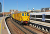 Network Rail 73138 is seen passing through platform 4 at London Bridge with 1Q13 test train 04 October.