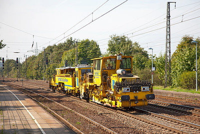 A pair of track machines head east through Saarmund. 24th September 2010