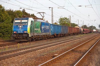 PKP Cargo EU43 005 passes Saarmund westbound with a mixed freight having worked through from Poland. 24th September 2010
