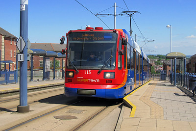 Sheffield Super Tram 115 departs from Gleadless Town End heading for Halfway. Saturday 25th May 2013.