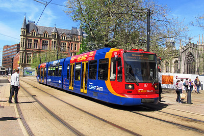 Sheffield Super Tram 117 departs from Cathedral heading for Meadowhall. Saturday 25th May 2013.