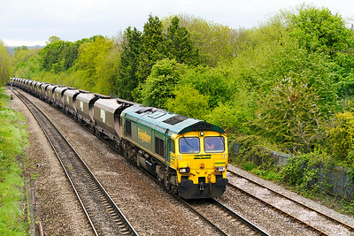 66508 passes Hatherly Loop, Cheltenham with 4V06 Rugely Power Station to Stoke Gifford Yard empty coal. Wednesday 15th May 2013.