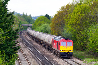 60040 'The Territorial Army Centenary' heads the 6E41 11.41 Westerleigh to Lindsey empty tanks past Hatherley Loop, Cheltenham. Wednesday 15th May 2013.