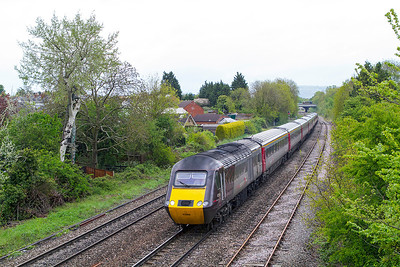 43366 leads the 1V50 06.06 Edinburgh to Plymouth away from Cheltenham Spa at Hatherley Loop with 43384 as the rear power car. Wednesday 15th May 2013.
