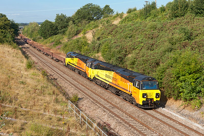70804 with 70805 DIT passes Chippenham with 6M50 07.55 Westbury to Bescot Engineering Sidings. Monday 4th August 2014.