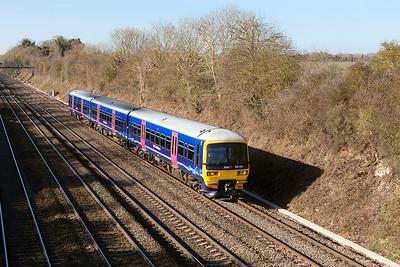 165 101 passes Shottesbrooke forming 1K45 09.39 Bedwyn to Paddington.  Wednesday 18th February 2015.