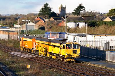 Colas Rail Matisa Tamper DR75407 passes Severn Tunnel Junction running as 6J84 09.58 Severn Tunnel Junction Sidings to Weston-super-Mare. Friday 15th January 2016.