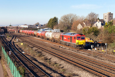 60040 'The Territorial Army Centenary' passes Magor Village with 6B13 05.00 Robeston to Westerleigh loaded Murco tanks. Friday 20th January 2017.