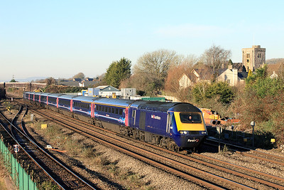 Power cars 43181 & 43024 have charge of 1L46 09.55 Cardiff Central to Paddington passing Magor Village. Friday 20th January 2017.