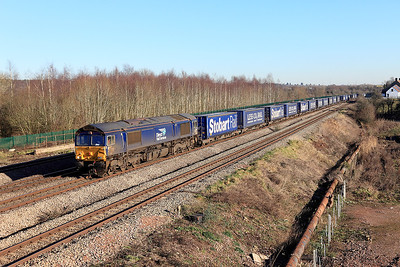 66433 passes Church Road, Undy heading 4V38 08.20 Daventry to Wentloog Tesco Express. Friday 20th January 2017.