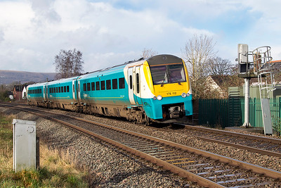 175 112 passes the site of Ponthir station forming 1V94 08.05 Holyhead to Cardiff Central. Thursday 25th January 2018.