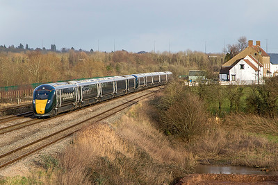 IET's 800 023 & 800 021 head away from Severn Tunnel Junction forming 1B40 13.45 Paddington to Swansea. Thursday 25th January 2018.