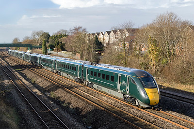 IET's 800 021 & 800 023 pass Undy forming 1L51 10.56 Cardiff Central to Paddington. Thursday 25th January 2018.