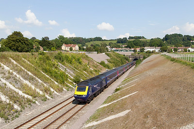 43094 & 43025 emerge from Chipping Sodbury Tunnel with 1B46 14.45 Paddington to Swansea. Wednesday 23rd July 2014.