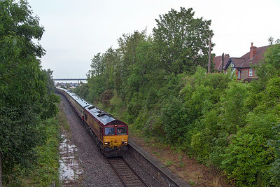 """66056 & 66117 top & tail UK Railtours """"The Bristol Docker"""" 1Z91 12.35 Bristol Temple Meads to Portbury Docks & Avonmouth through the site of Pill Station in the pouring rain. Saturday 19th July 2014."""