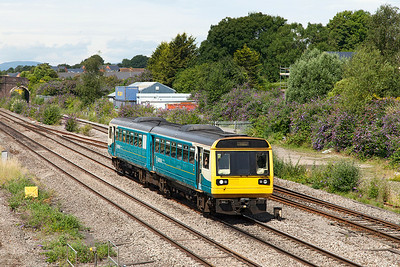 142061 passes Magor as an early running 5C42 11.48 Cardiff Canton Sidings to Bristol Barton Hill. Saturday 12th July 2014.