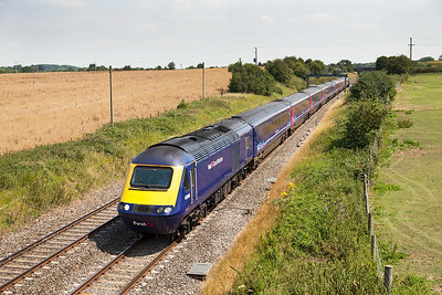 43146 & 43010 have charge of 1C13 12.00 Paddington to Bristol Temple Meads passing Bourton. Wednesday 23rd July 2014.