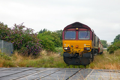 """66056 & 66117 top & tail UK Railtours """"The Bristol Docker"""" 1Z91 12.35 Bristol Temple Meads to Portbury Docks & Avonmouth through the weeds on the approach to Avonmouth Station. Saturday 19th July 2014."""