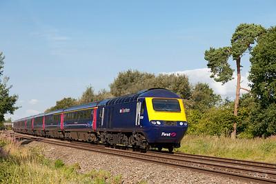 43079 & 43005 pass Shrivenham with 1L32 06.58 Swansea to Paddington. Wednesday 30th July 2014.