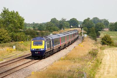 43098 & 43152 pass Shrivenham with 1B40 13.45 Paddington to Swansea. Wednesday 23rd July 2014.