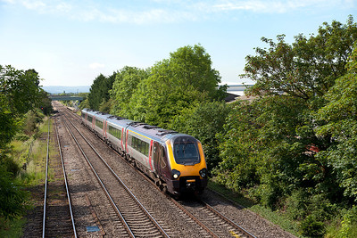 221119 passes Ashchurch station forming 1S41 07.25 Plymouth to Edinburgh. Friday 13th June 2014.