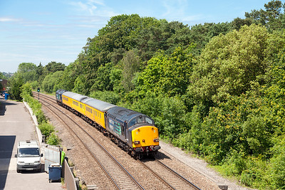 37607 top & tailed with 37610 'T.S. (Ted) Cassady 14.5.61-6.4.08) pass Ram Hill with 1Z04 12.13 Bristol Barton Hill to Hither Green test train. Friday 13th June 2014.