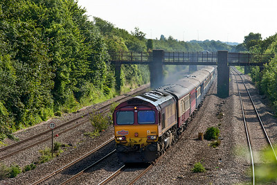 """66133 powers past Undy with Pathfinder Tours' """"Heart of Wales Rambler"""" 1Z25 06.25 Banbury to Llandrindod Wells. Saturday 12th Junly 2014."""