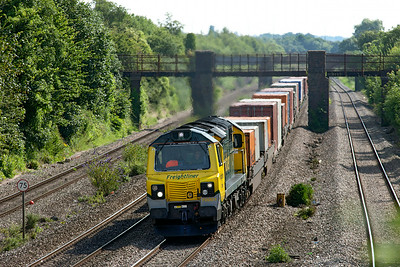 Running 140 minutes late 70001 passes Undy with 4V50 05.08 Southampton MCT to Wentloog Freightliner service. Saturday 12th Junly 2014.