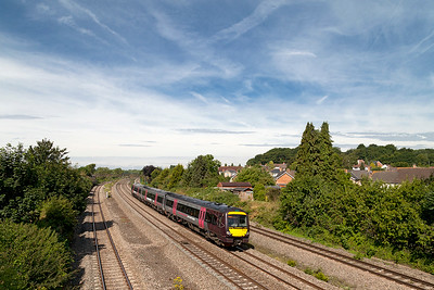 170637 forming the 1M60 09.45 Cardiff Central to Nottingham passes Undy. Saturday 12th Junly 2014.